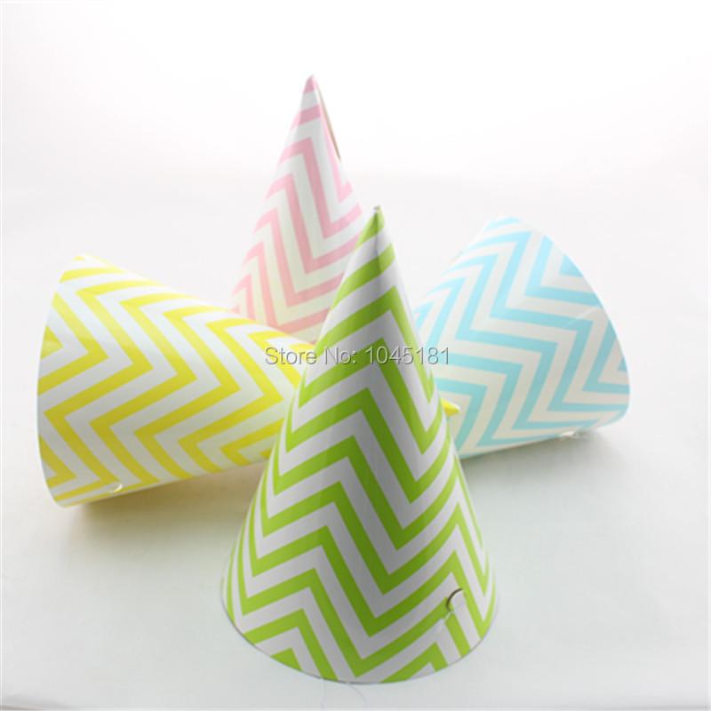 Best Quality 2400pcs/lot Handmade Paper Party Hats Chevron Striped Dot Patterns Kids/Adult Birthday Hats(China (Mainland))