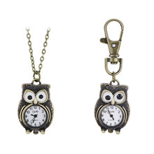 Free Shipping Vintage Bronze Lovely Owl Pendant Quartz Watches Necklace Chain Pocket Watch Gift Key Chains