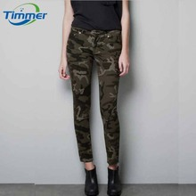 Annual Popular Camouflage Slim Elastic Women Pants Women's Army Cargo Pencil Pant Haoduoyi Uniform Womens Trousers Free Shipping(China (Mainland))