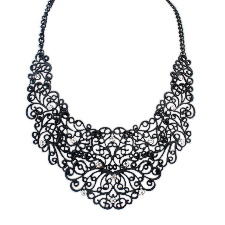 Jewelry New Black Choker Fashion Necklaces Women 2015 Statement Vintage Hollow Carving Crystal Flowers Pendant Necklace - Star WorLd LTD store