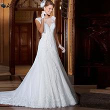 Popular Style Mermaid Sheer Back Vintage Wedding Dress Vernassa Vestido De Novia Casamento Cheap Bridal Dresses Fast Shipping(China (Mainland))