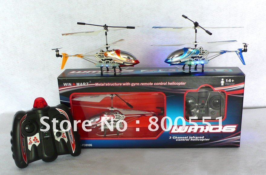 2012 new mini r/c helicopter, 3ch metal gyro rc helicopter, WM-F3D106, best birthday gift for boys!(China (Mainland))
