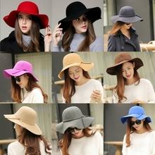 2015 1PC Jazz Korean Warm New Style Women's Large Soft Wide-Brimmed Hat Cap Gorras Macka Touca Retro(China (Mainland))