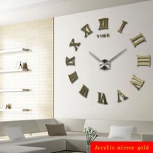 promotion 2015 new home decor large roman mirror fashion modern Quartz clocks living room diy wall clock watch free shipping(China (Mainland))