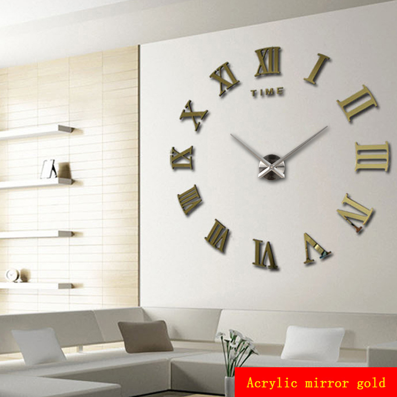 Home decoration meters large roman numerals affixed mirror for Living room wall clocks