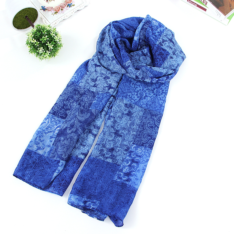 Nature Style Charming New Arrive Women Blue Flower Pattern Desgin Printed Scarf Long Scarves Women Chiffon Scarf Beach Shawls(China (Mainland))