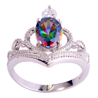 Wholesale Hot New Stylish Sexy Ladies Oval Cut Mysterious Rainbow Topaz 925 Silver Ring Size 6 7 8 9 10 Free Shipping Women Gift