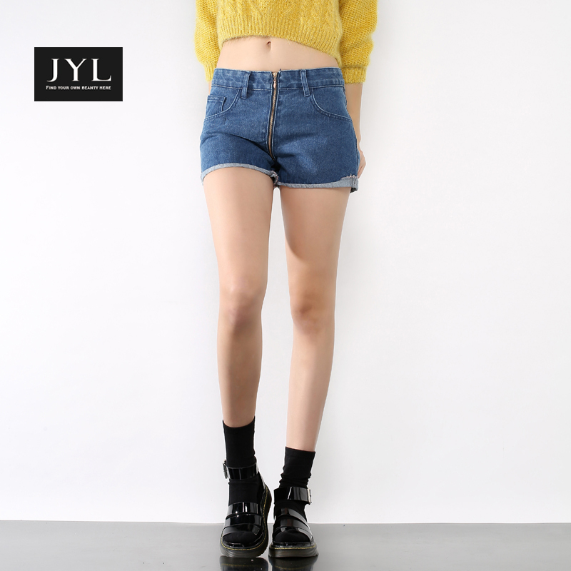 JYL 2015 Summer new womens denim shorts,front visible zip sexy mini short jeans casual wear shorts for women jeans with pcckets(China (Mainland))