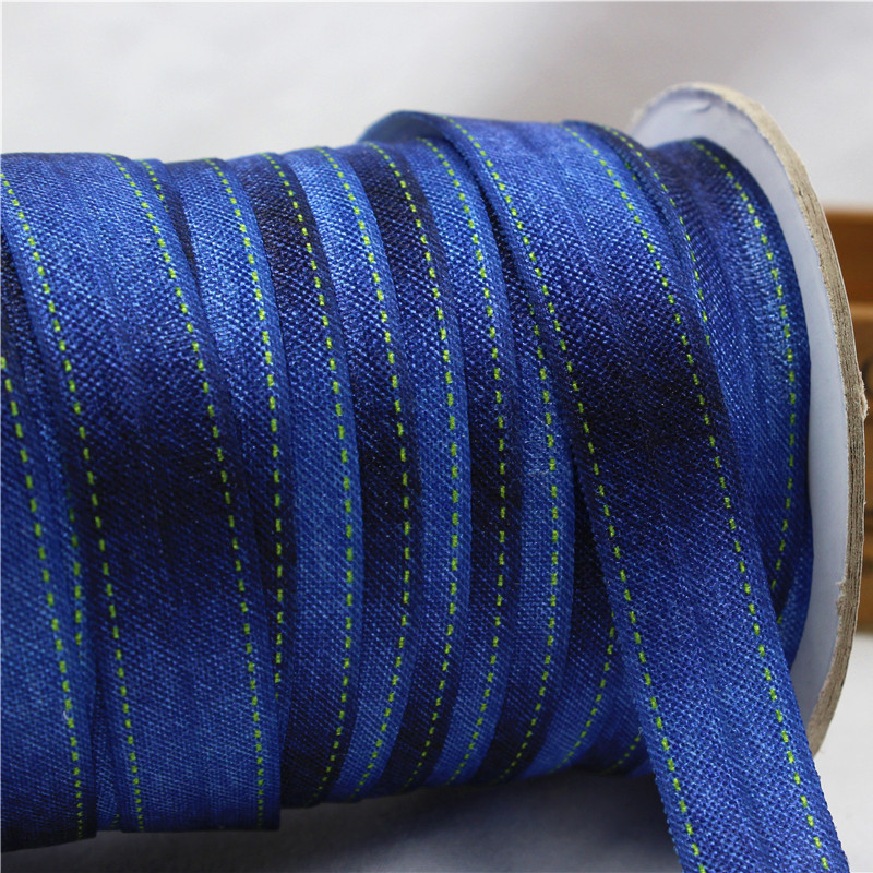 161799 ,16MM Copy denim fabric Fold Over Elastic Ribbon , 10 yards Hair ring DIY handmade clothing accessories(China (Mainland))