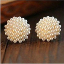 New Fashion Vintage Full Pearl Peach Heart Earrings Jewelry(China (Mainland))