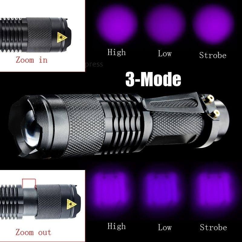 2017 NEW LED Mini Pocket UV Flashlight SK68 Purple Violet Light UV 395nm waterproof Lamp Lantern 3 Modes Adjustable Focus Lamp