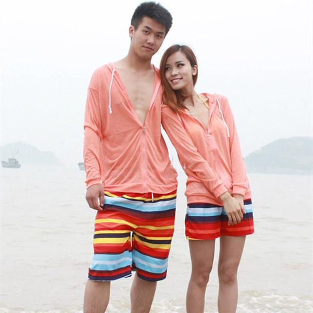 2016 на лето конфеты цвет полосы цветные высокой талией пляжные шорты женские и мужчины ...