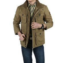 Plus Size 8XL Loose Men Jacket Long New 2017 Brand AFS Jeep 100 nature cotton Warm Autumn and Winter Mens coats business casual(China (Mainland))