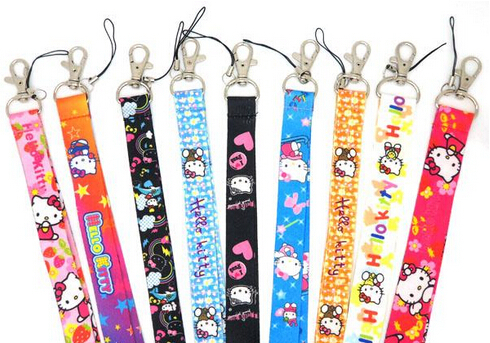 Free Shipping New Lots 10 pcs Hello kitty cat mix fashion Mobile Phone LANYARD Neck Strap Charms(China (Mainland))