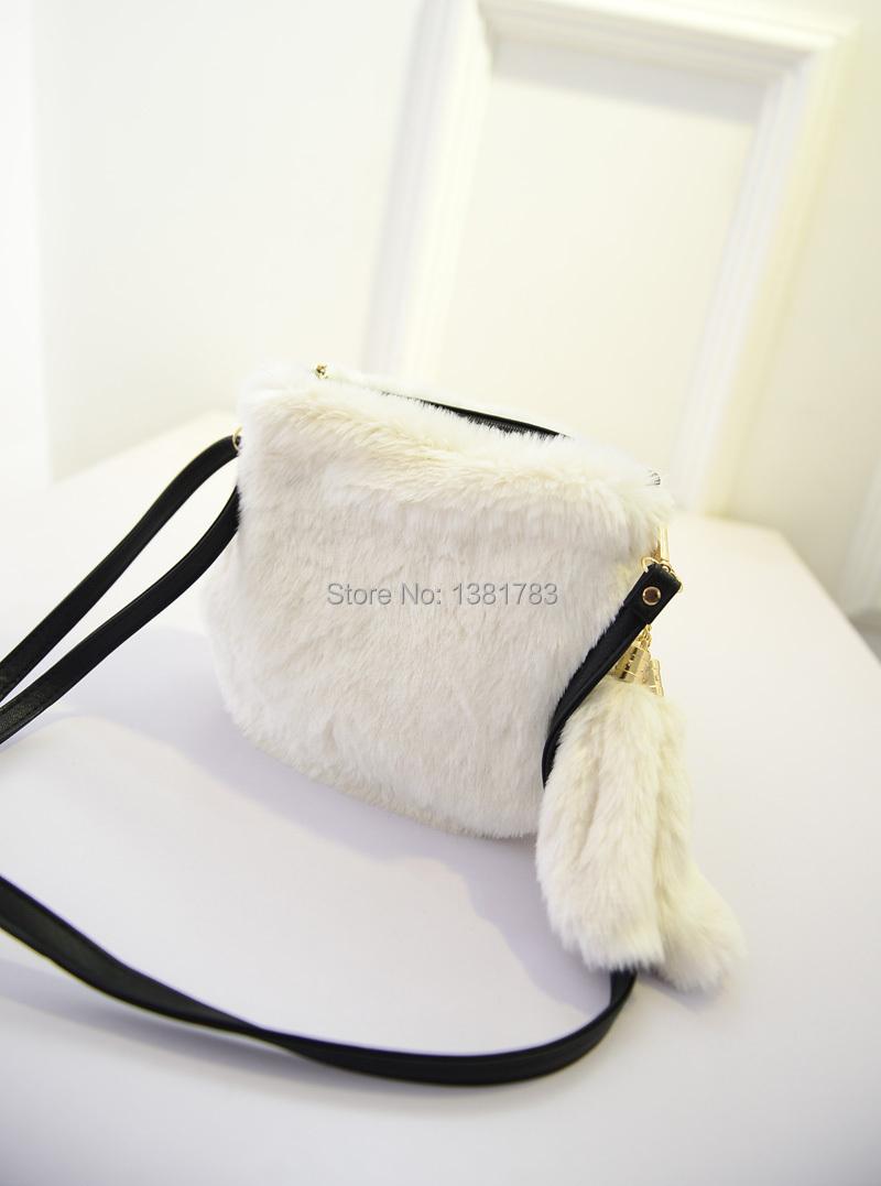 Fashion long fur handbag single shoulder his small bag and shoulder bag(China (Mainland))