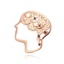Kepala Saraf Mesin Otak Bros Bijaksana Otak Kristal Hitam Lencana Pin Fashion Perhiasan untuk Sarjana Pria Wanita Pesona Chic hadiah(China)
