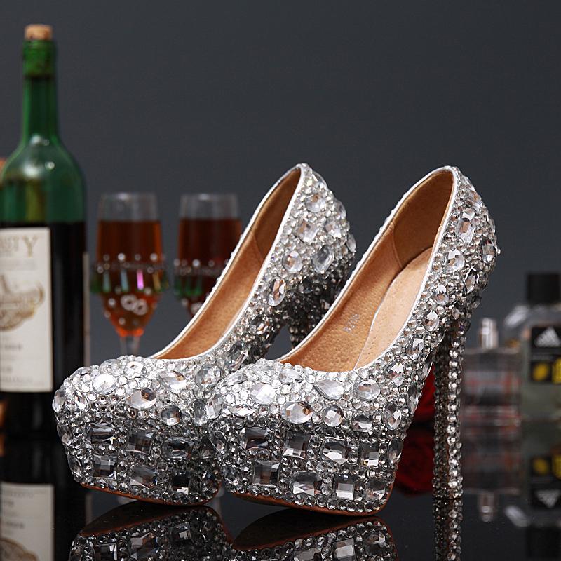 2015 New Limited Edition Blue Handmade Glass Slipper Wedding Shoes Ultra High
