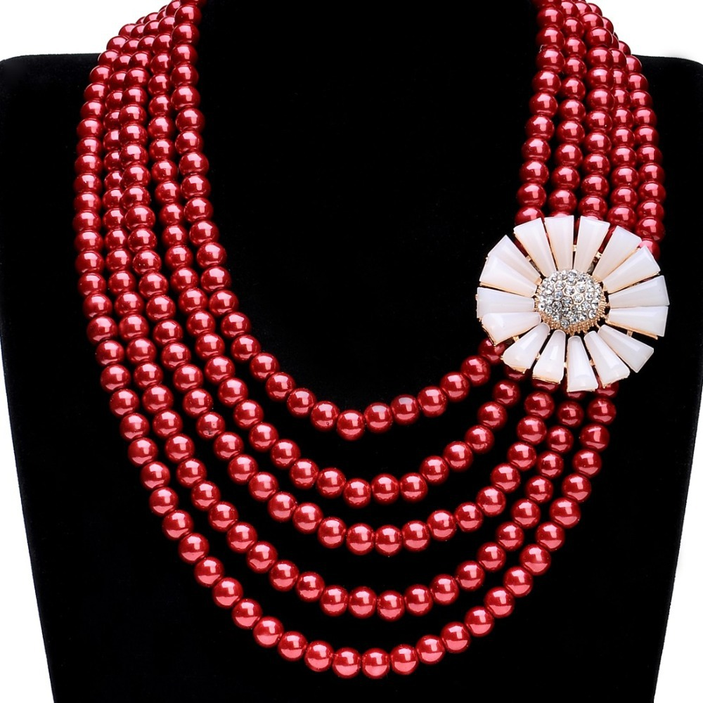 2015 zhejiang Fashion Jewelry Gold Chain Pearl Clear Crystal Beads Flower Elegant Multi Layer Choker Necklaces women dress - MOONEY PY STORE store