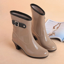 Women Rain Shoes High-heeled Rain Boots Female Winter Tube Rubber Boots