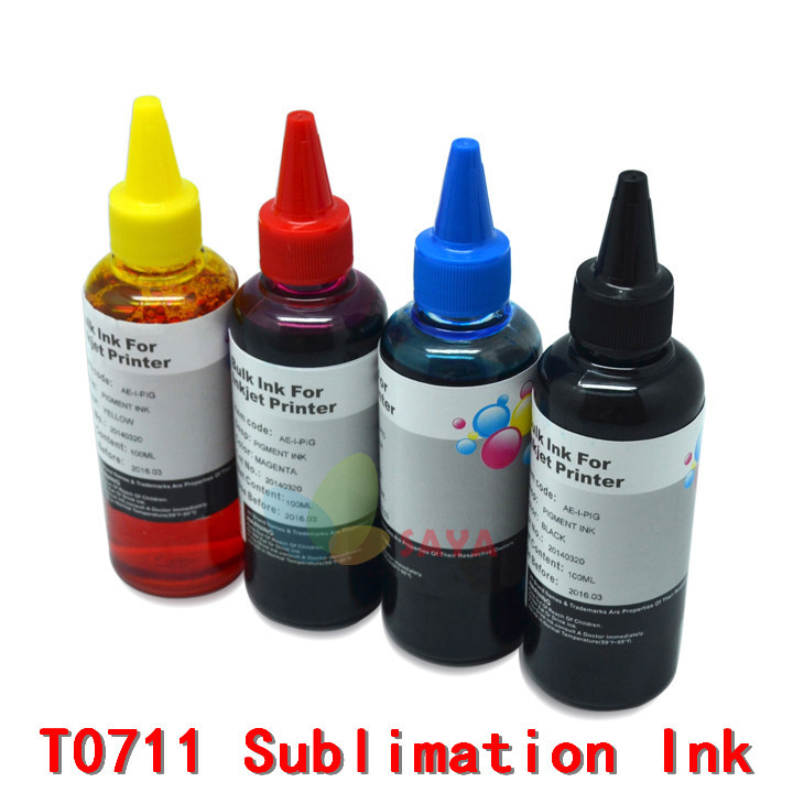 Hot Specialized SUBLIMATION INK for EPSON S20 SX100 SX105 SX200 SX205 SX400 SX405 SX600FW BX600FW BX300F B40W printer Ink T0711