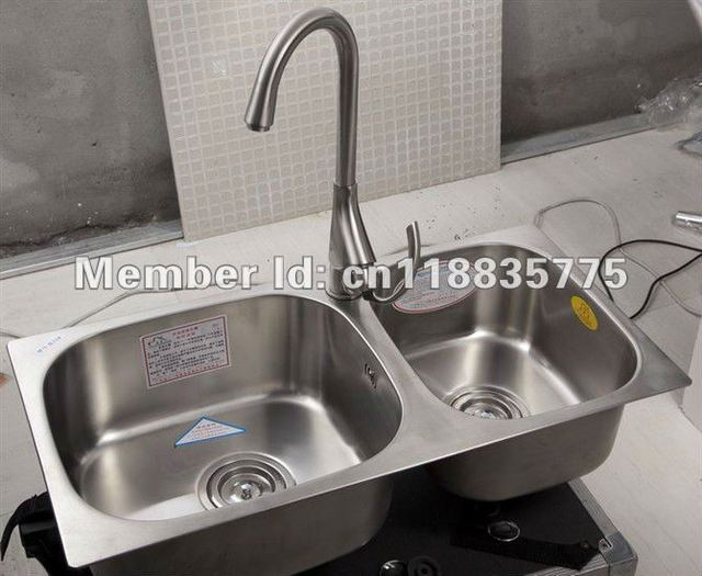 Fashion New 71*36 Stainless Steel Double Bowls Kitchen Sink With Faucet AET8028