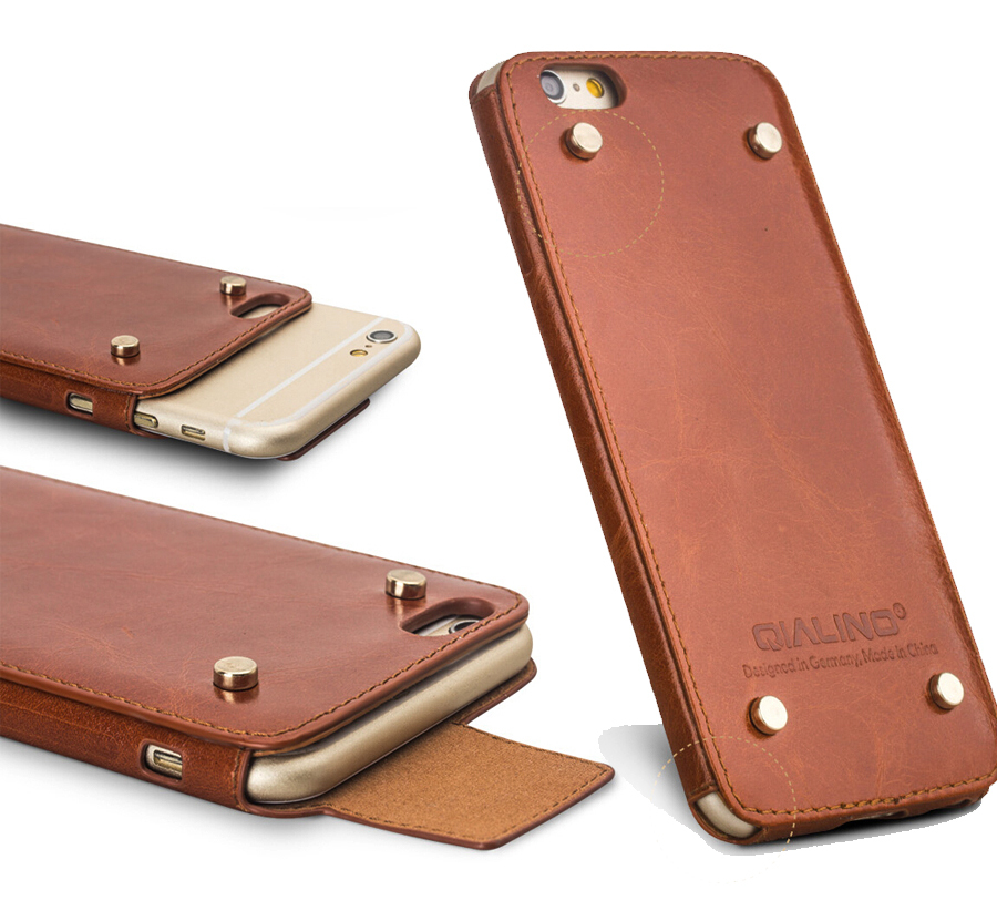 Qialino Genuine Leather phone Case For iPhone 6 & 6s Cover for iphone 6 4.7/5.5 Case Top Handmade Pouch with Rivet Design(China (Mainland))