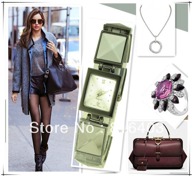 Free shipping square sport jewelry bracelet Quartz Ladies dress woman wristwatch fashion bangle watches crystal band