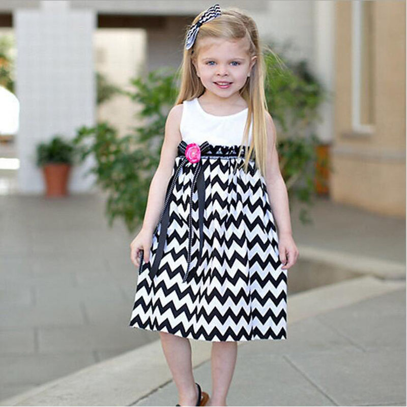 FLY KIDS wholesale children clothes 2016 Wavy stripe princess dress kids clothes girls dress for girls for wedding/party summer(China (Mainland))