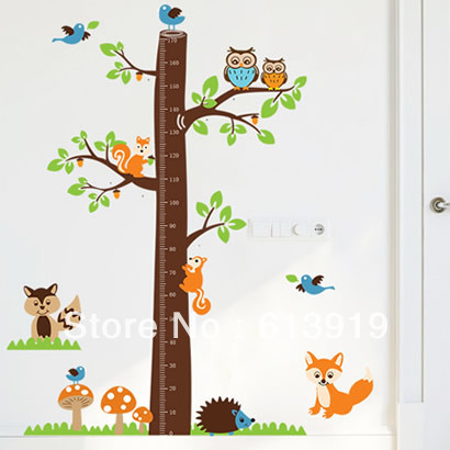 170cm New Products Large Size Fox Tree Wall Decal Growth Chart Kids Room Height Measurement Home Decals - DIY Decoration Sky store