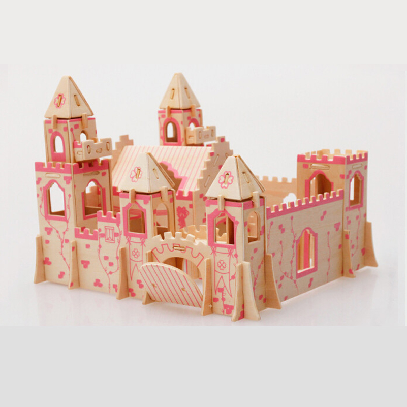 Princess Castle Wooden 3D Puzzle Wood Puzzle Wooden Toys Model Assembly Jigsaws DIY Educational Kids Toys For Children Girl Gift(China (Mainland))