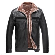 2015 Fashion Jacket Winter Sheepskin Men Leather Coat With Fur Collar Thicken Fox Fur Cotton Lininig Outerwear Size S-3XL