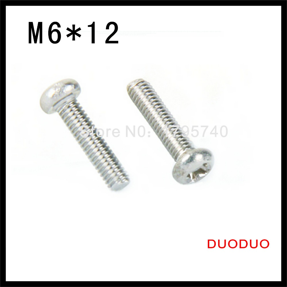 100pcs DIN7985 M6 x 12 A2 Stainless Steel Pan Head Phillips Screw Cross Recessed Raised Cheese Head Screws<br><br>Aliexpress