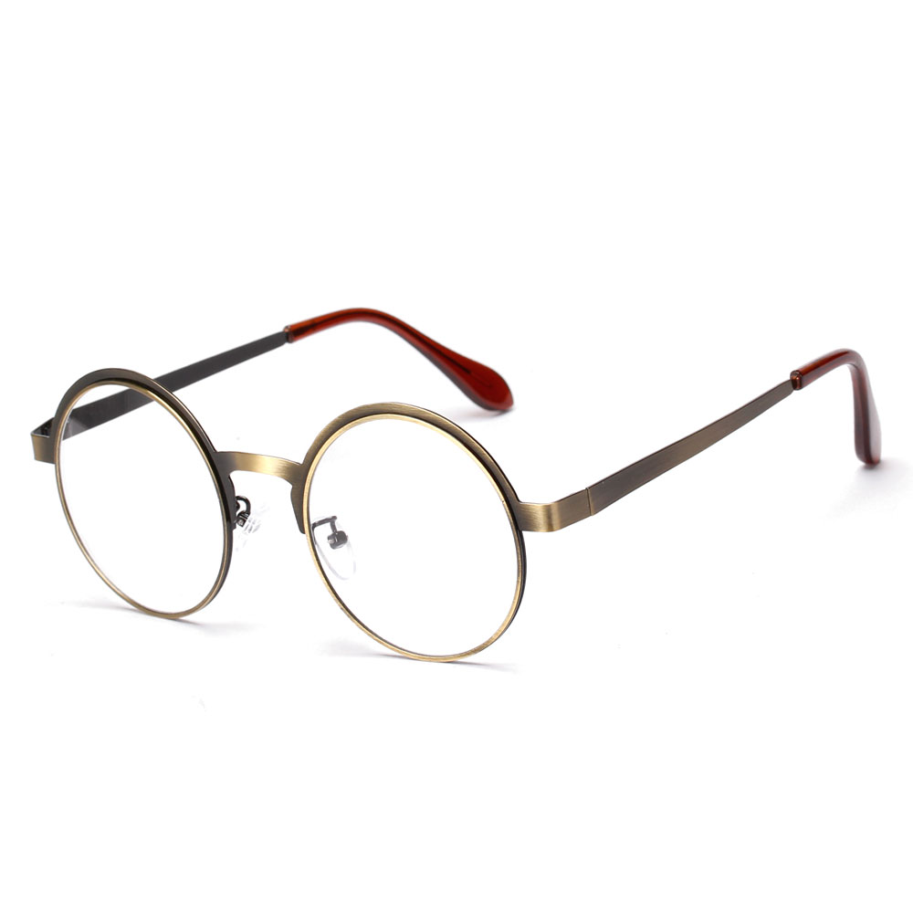 New high quality antique retro round eyeglasses metal frame men large vintage round glasses frames women UV black oculos redondo(China (Mainland))