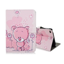 for Pad mini 4 Case Smart Flip Leather Stand Shell Case for Pad mini 4 - Cute Bear(China (Mainland))