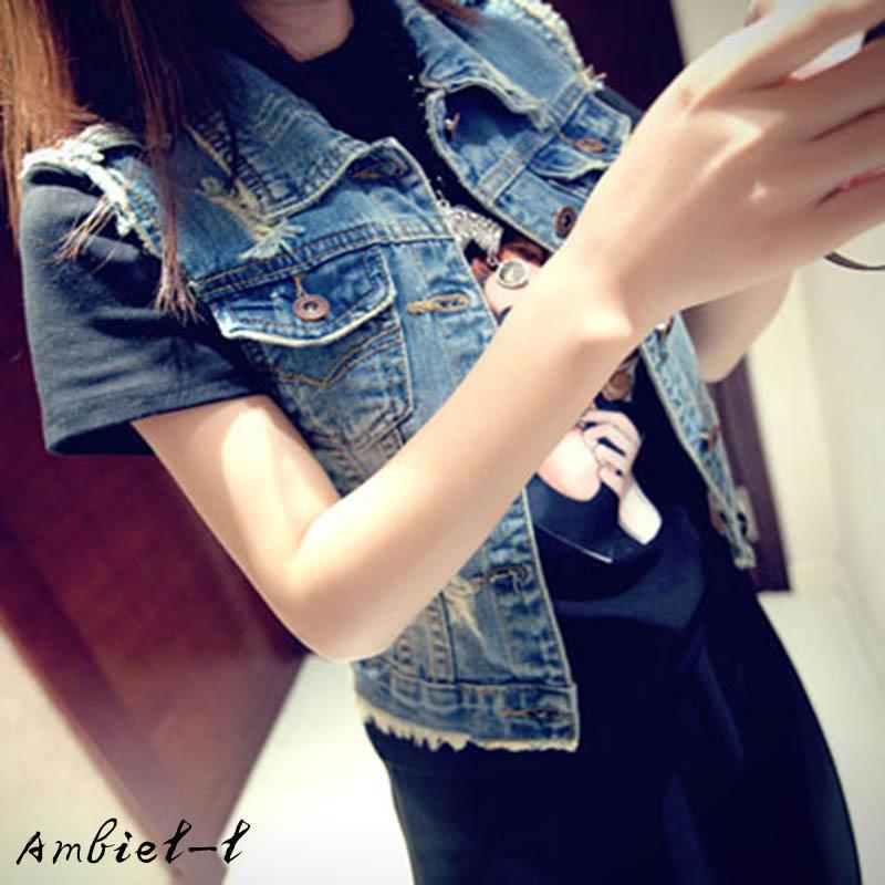2016 New Fashion Women ladies sleeveless style Denim jacket Metal Button Oversized Jean Vintage Coat Outwear Plus size(China (Mainland))