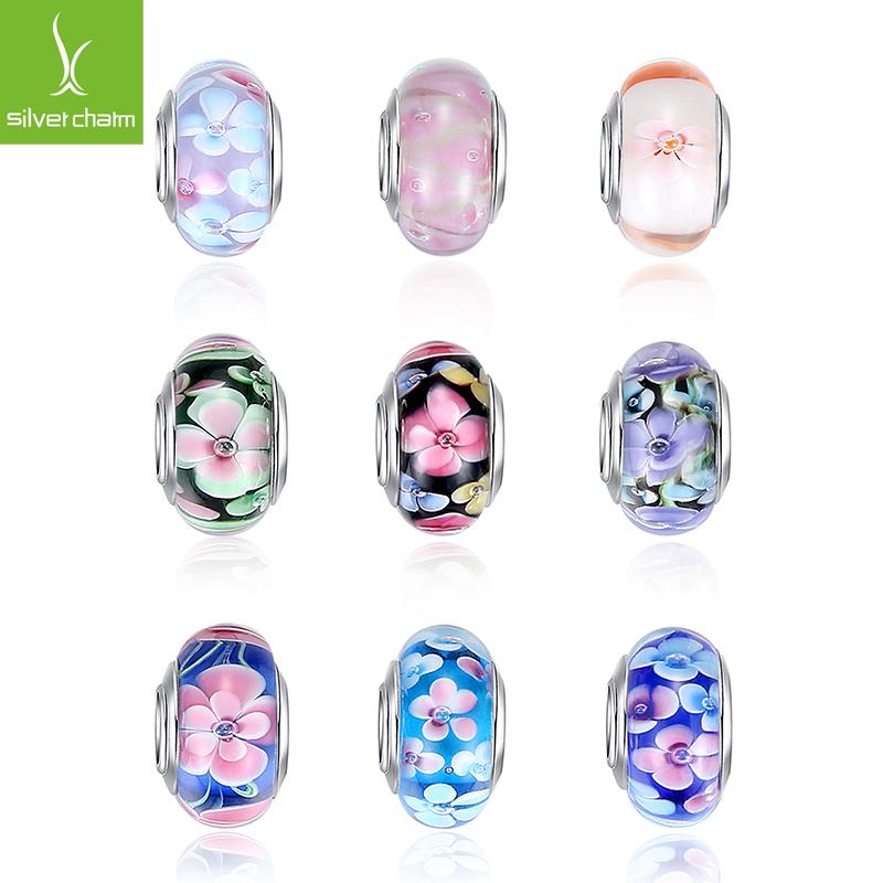 Hot Sale Silver Plated Flower Murano Glass Beads Fits Pandora Bracelet Bangles Charms Original European DIY Jewelry(China (Mainland))