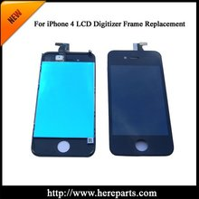 Free shippig LCD digitizer with frame full set for iPhone 4  Replacement White / Black colors available