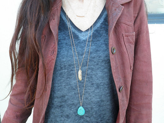 Long Gold Feather Necklace Long Feather Necklace