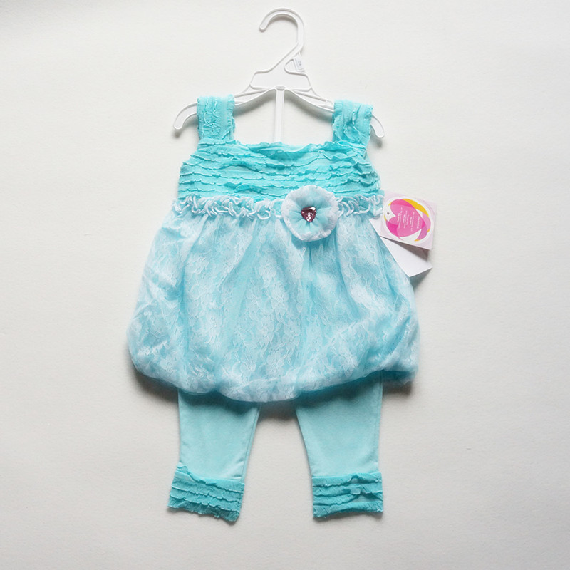 Free Shipping 10sets/lot YOUNGLAND BABY Girls (12M-24M) Shoulder Strap Dresses and Leggings Set<br>