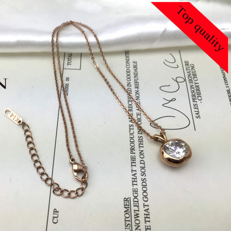 Manufacturing Stainless Steel Rose Gold Necklace Single Pearl Pendant Fashion Necklace In Stock(China (Mainland))
