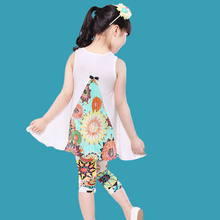 Fashion Girls Clothing Sets 2016 Summer Girls Dress + Leggings Casual Suit Modal Fabric Pastoral Flower Baby Kids Clothes(China (Mainland))