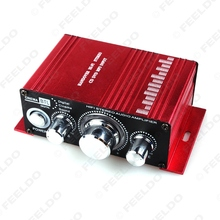 5Pcs 12V 2CH Mini Red Power Amplifier Hi-Fi Subwoofer Audio Stereo Power Digital Amplifier #FD-3839(China (Mainland))