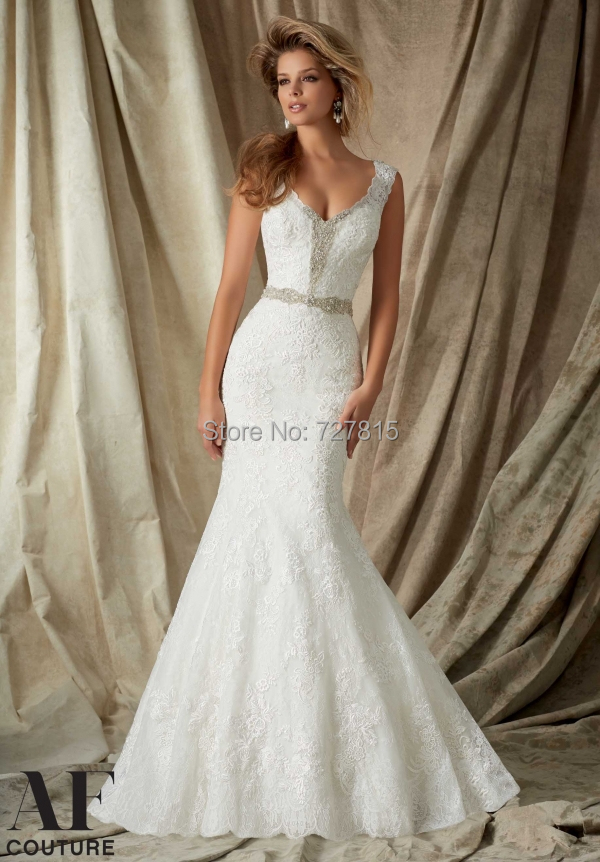 High Neck Wedding Gown 2015 Modest Vestido Branco Lace Vintage Beading Bridal Gowns Mermaid See