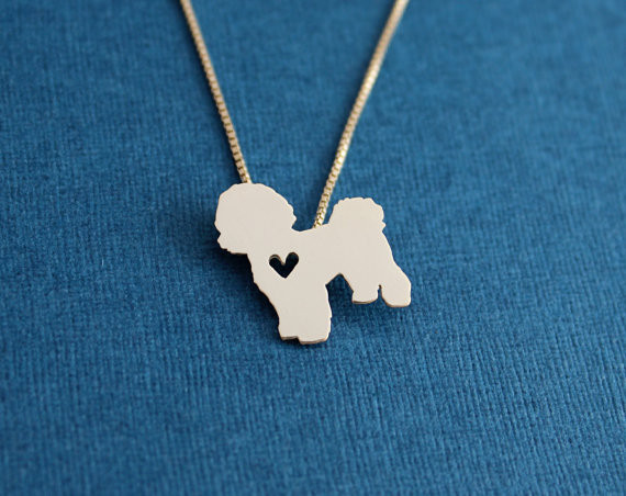 Bichon necklace, sterling silver hand cut pendant, with heart, tiny dog breed jewelry