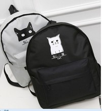 Japanese Cat Canvas 2016 New School Backpack Mochila For Women Backpack Couple Cartoon Backpack College Wind(China (Mainland))