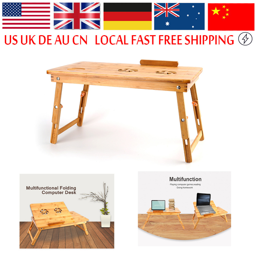 Computer Table Portable Bamboo Laptop Stand Desk Modern Notebook Table Cooling Fan Mouse Holder Tray Bed(Hong Kong)
