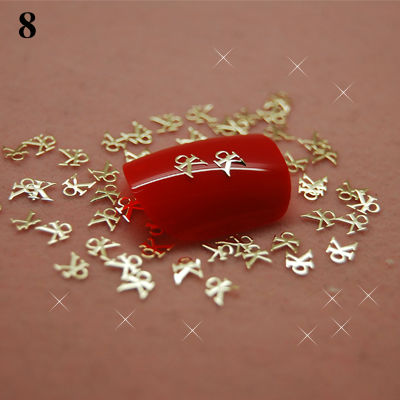 T8 800pcs/lot Gold Charm Brand Metal Nail Art Stickers Tips Decals Phone Cover DIY Decoration Random Pick(China (Mainland))