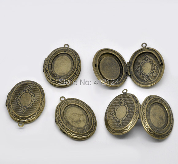 7Bronze Tone Charms Pendants Oval Photo Locket Frame Jewelry Making Component 34x24mm
