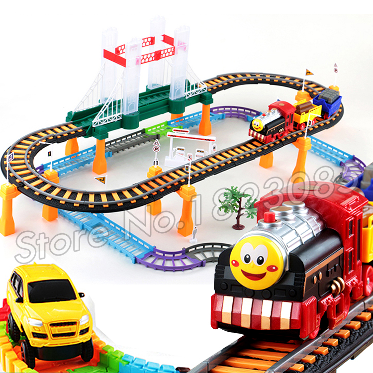 63pcs New Music & Light Thomas Trains Rail Car Toys Plastic Thomas and friends Track Puzzle Track Car Electric Train Brinquedos(China (Mainland))