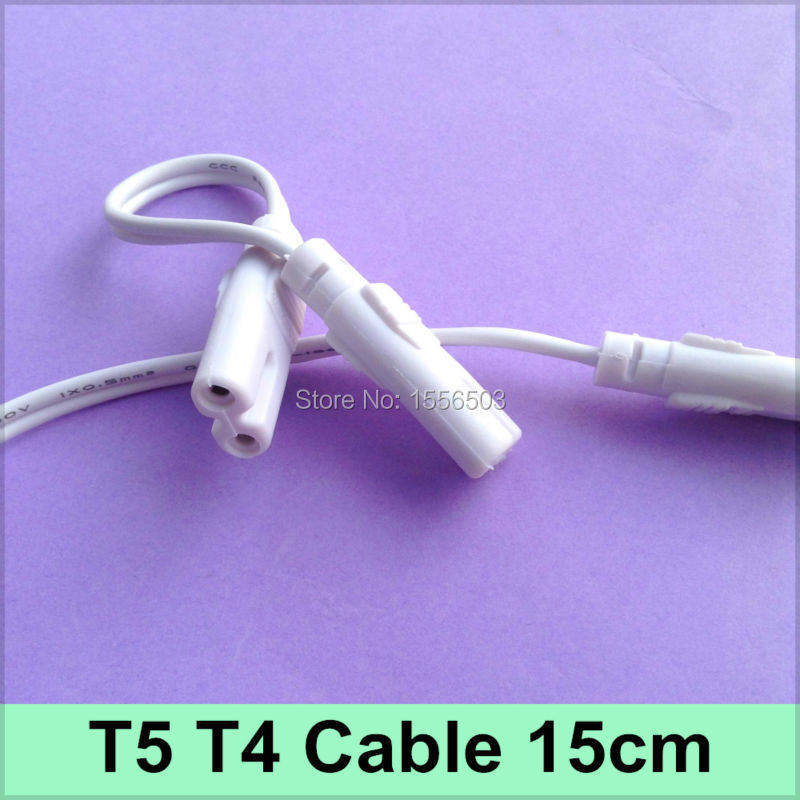 5X Tube Light T4 T5 Connector 15cm Cable 2 holes For Fluorescent lamp Double Heads T5 Connector Wire(China (Mainland))